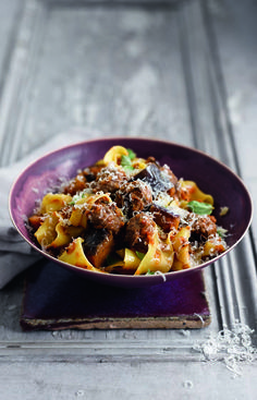 The meatiness of this meatball ragù recipe is given even more substance by the addition of aubergine, making this a really hearty dish. It's a must-try!