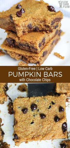 Gluten Free Pumpkin Bars with Chocolate Chips Recipe Easy to make low carb gluten free pumpkin bars with chocolate chips that have no sugar added. They're so good even the kids love them. Low Carb Sweets, Low Carb Desserts, Low Carb Recipes, Dessert Recipes, Free Recipes, Low Carb Dessert Easy, Gf Recipes, Appetizer Recipes, Recipies