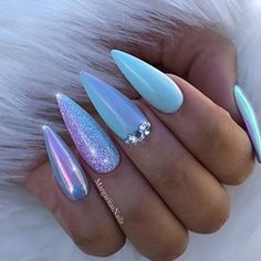 Long, Mermaid Stiletto Nails