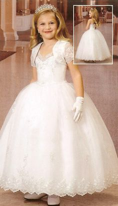 Find custom ball gown spaghetti straps first communion dresses with jackets, flower girl dresses, wedding party dresses at discount prices Girls First Communion Dresses, Holy Communion Dresses, Baptism Dress, Première Communion, First Holy Communion, Little Girl Dresses, Girls Dresses, Flower Girl Dresses, Communion Hairstyles