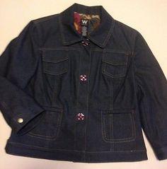 Womens W Work to Weekend Blue Denim Lined Blazer Jacket sz. 10