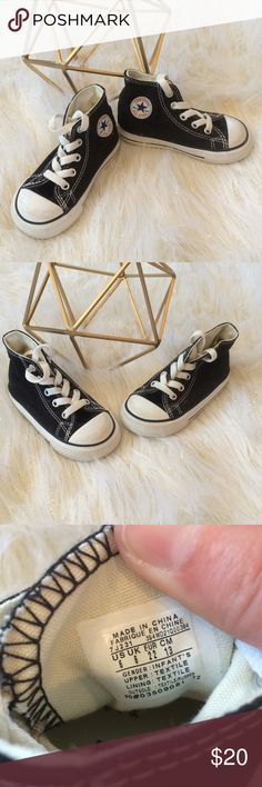Toddler Black Converse High Tops Size 6