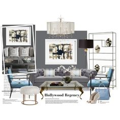 Hollywood Regency... by gloriettequartet on Polyvore featuring interior, interiors, interior design, home, home decor, interior decorating, Jonathan Adler, Arteriors, Oliver Gal Artist Co. and Designers Guild