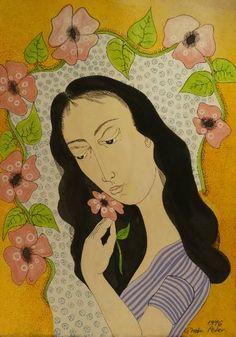 Original Portrait Drawing by Peter Ghetu Original Paintings, Original Art, Oil Paintings, Girls With Black Hair, How To Draw Hair, Is 11, Artwork Online, Buy Art, Paper Art