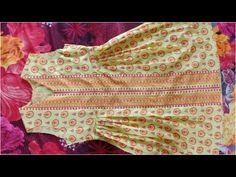 Modern style designer kurti stitching tutorial /peplum frock in new look Baby Girl Dress Design, Girls Frock Design, Kids Frocks Design, Girls Dresses Sewing, Stylish Dresses For Girls, Dresses Kids Girl, Dress Sewing, Fashion Sewing, Kids Fashion