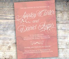 Peach and White Elegant Wedding Invitation by SixDaysCreations