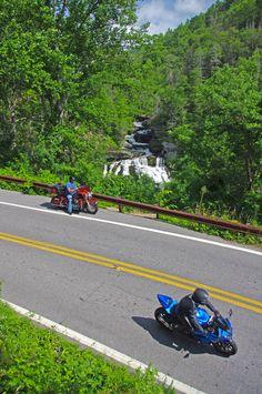 """Motorcycles at Cullasaja Falls in North Carolina's """"Land of the Waterfalls"""""""