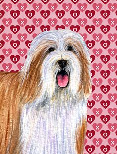 Bearded Collie Hearts Love and Valentine's Day Portrait Flag Garden Size