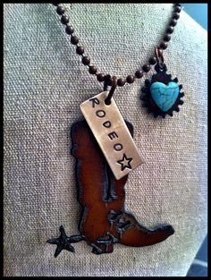 Hand Stamped, Rustic, Recycled Metal RODEO STAR, Boot Charm. Faux Turquoise Heart Concho Pendant Cluster Inspirational Necklace
