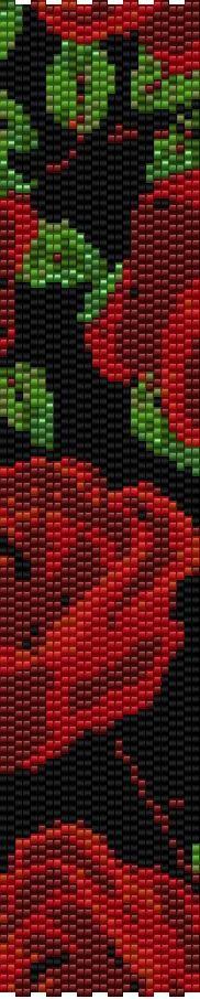 Peyote Two Drop Bracelet Beading Pattern Red Roses