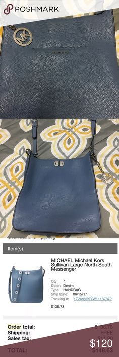"""Michael Kors Sullivan messenger Perfect condition brand new Michael Kors Sullivan north south messenger! Purchased just in June from Macy's online which I included the detailed pic of! Just a little larger than what I normally would carry and purchased a different Michael kors crossbody for myself. I just want to make back what I paid, I had a discount for Macy's but this exact purse goes for at least $195 at the very least that I've seen on the web!  Size L 11.5""""xH 11.5""""xD 4"""" Bags Crossbody…"""