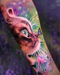 World Famous Tattoo Ink, Cat Tattoo, Animal Tattoos, Color Tattoo, Tattoo Inspiration, Panther, Owl, Butterfly, Bird