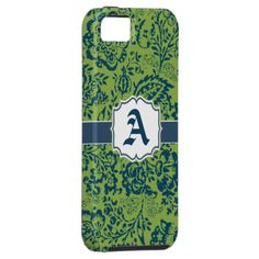 Vintage Navy Apple Green Damask Personalize iPhone Iphone 5 Case