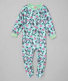 Love this Mint Zebra Footie - Infant, Toddler & Girls by 1000% Cute on #zulily! #zulilyfinds