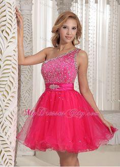 One Shoulder Beaded Organza Hot Pink Short Prom Cocktail Dress
