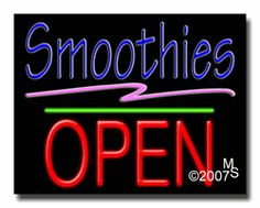 """Smoothies Open Neon Sign - Block Text - 24""""x31""""-ANS1500-2018-1g  31"""" Wide x 24"""" Tall x 3"""" Deep  Sign is mounted on an unbreakable black or clear Lexan backing  Top and bottom protective sides  110 volt U.L. listed transformer fits into a standard outlet  Hanging hardware & chain included  6' Power cord with standard transformer  Includes 2nd transformer for independent OPEN section control  For indoor use only  1 Year Warranty on electrical components."""