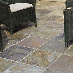 Tile a Concrete Stoop. Cover the risers on a concrete stoop with tiles rated for outdoor use in your climate Porch Tile, Patio Tiles, Outdoor Tiles, Concrete Steps, Concrete Tiles, Concrete Patio, Slate Tiles, Back Patio, Small Patio