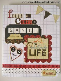 www.manualidadesytendencias.com Scrapbooking: tarjeta de cumpleaños para un chico / Birthday card for a boy