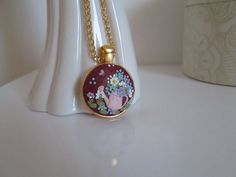 Floral Watercan Necklace/Pendant with golden by FernandaMcCormack
