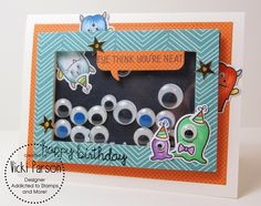 """Lawn Fawn - Monster Mash, Happy Everything, Beachside paper _ super fun """"googly… Homemade Birthday Cards, Homemade Cards, Card Making Inspiration, Making Ideas, Lawn Fawn Stamps, Monster Cards, Shaker Cards, Fall Cards, Halloween Cards"""