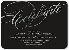 Simply Scripted Celebration Wedding Invitation, Rounded Corners, Black