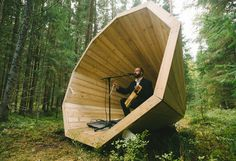 Architecture can also amplify the natural noises around us. These wooden 'Ruup' megaphones in Estonia's Võru County were constructed in September 2015 to harness the sounds of the forest. Designed by students and planted amongst the trees, the 'bandstands' vary in size and form but, at 3m diameter, they are the perfect size to climb into. Photography: Tõnu Tunnel