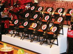 """Slam Dunk"" Indiana Basketball Party Pantry organizer stadium seating: mini chairs holding basketball peanut butter cups + IU petite fours"