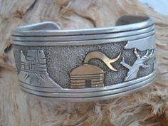 Tommy Singer Vintage Sterling Navajo Storyteller Overlay Bracelet