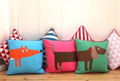 Toby Tiger Fox and Sausage Dog Cushions, published by Bobby Rabbit Animal Cushions, Dog Cushions, Fox Crafts, Fox Dog, Pet Tiger, Daschund, Dachshunds, Nice Things, Dog Stuff