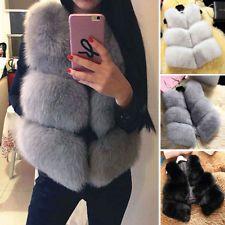 46970999cb2 New Women Warm Faux Fox Fur Waistcoat Jacket Coat Short Slim Vest Gilet  Outwear Fur Waistcoat