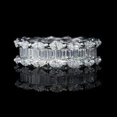 3 71ct Diamond Marquise And Baguette Cut Platinum Eternity Wedding Band Ring