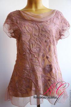 Купить Авторская блузка Цвет пыльной розы - цветочный, нуно-фелтинг, одежда для женщин