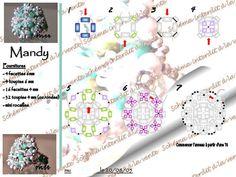 MANDY Free Beaded Ring Pattern by Mu. Use: 4 faceted beads 6mm, 4 bicone crystals 6mm, 16 faceted beads 4mm, 32 bicone beads 4mm (or round beads), seed beads 15/0