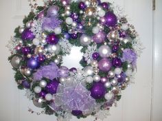 Silver and Purple Feather Bird, Diamond Cyrstal Christmas Wreath