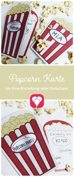 Popcorn-Karte als Gutschein! Du suchst noch nach einem passenden Geschenk bei einem Kino-Event? Diese Vorlage kann auch perfekt als Gutschein fürs Kino dienen! Einfach ausdrucken, basteln & fertig! Viele weitere tolle Ideen und Vorlagen findest Du auf blog.balloonas.com #balloonas #vorlage #downlaod #movie #kino #party #fest #geburtstag #gutschein #popcorn #geschenk