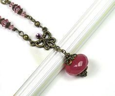 Pink Grapefruit Vintage Style Necklace, Swarovski Necklace, Victorian Style, Czech Glass, Pink Sorbet, For Her, Heart, Romantic Jewelry