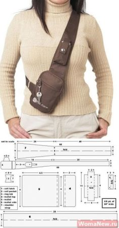 Bag pattern through a shoulder Fanny Pack Pattern, Leather Bag Pattern, Hip Bag, Denim Bag, Leather Projects, Handmade Bags, Leather Craft, Bag Making, Diy Clothes
