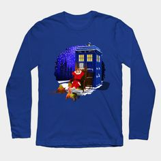 10th Doctor Relax before Christmas Long Sleeve T-Shirt #LongSleeve #TShirt #tee #clothing #painting #digital #ink #watercolor #comic #illustration #popart #christmas #newyear #tardisdoctorwho #doctorwho #tardis #timelord #badwolf #drwho #timetravel #starrynight