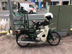 We took this Honda Cub photo in Japan. We offer these spokes before. Good motors parked in the street. #hondacub #kawasakimotor #spokes #streetmotorcycle