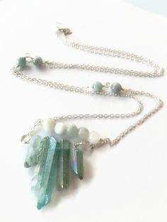 Aqua Quartz Points Pendant Necklace Sterling Silver Chain Necklace Healing Gemstone Necklace Aquamarine Beaded Boho Style Necklace (N45) by JulemiJewelry on Etsy