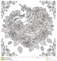 Adorable Unicorn And Roses Background - Download From Over 42 Million High Quality Stock Photos, Images, Vectors. Sign up for FREE today. Image: 57516172