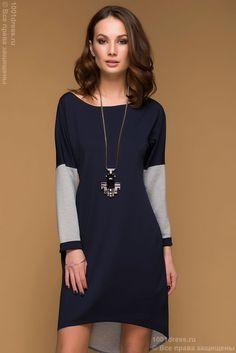 22.11.2017 3490 Купить двухстороннее серо-синее платье с длинным рукавом недорого в интернет-магазине 1001 DRESS