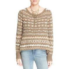 Free People 'Through the Storm' Sweater ($96) ❤ liked on Polyvore featuring tops, sweaters, taupe, taupe sweater, knit sweater, knit pullover sweater, long sleeve knit sweater and knit pullover