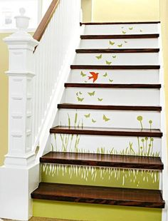 Staircase Ideas: Scenic decals add style to white stair risers. I need a fresh idea for our big staircase White Stair Risers, White Stairs, White Banister, Stair Treads, Wallpaper Stairs, Diy Wallpaper, Pattern Wallpaper, Painted Staircases, Painted Stairs