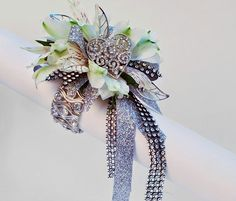 Blinged out wrist corsage