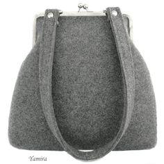 XL classic felt grey frame bag by yamira on Etsy, $45.00
