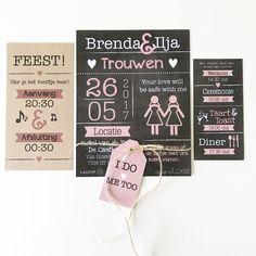 Trouwkaart Brenda & Ilja - @designbyloes - www.loesvanmastwijk.nl