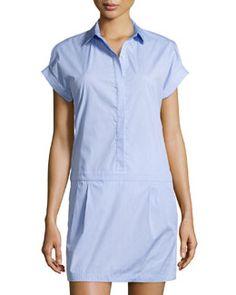 T9E7X Trina Turk Short-Sleeve Shirtdress W/ Dropped Waist, Oxford Blue
