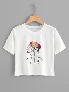 Shop Girl Print Crop T-shirt online. SheIn offers Girl Print Crop T-shirt & more to fit your fashionable needs. : Shop Girl Print Crop T-shirt online. SheIn offers Girl Print Crop T-shirt & more to fit your fashionable needs. Shirt Print Design, Tee Shirt Designs, T Shirt Printing Design, Cool T Shirts, Casual Shirts, Mode Outfits, Fashion Outfits, Shirt Diy, Geile T-shirts