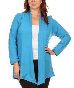 Turquoise Open Cardigan - Plus